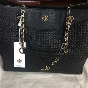 "Brand new ""Tory Burch"" Black Leather Tote"